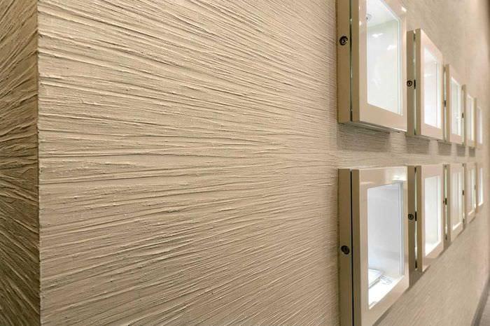 идея красивого стиля комнаты с декоративной штукатуркой