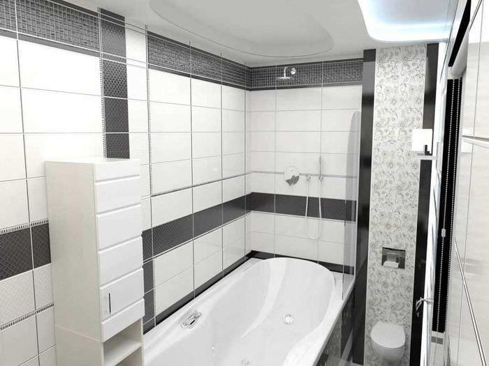вариант необычного интерьера белой ванной комнаты