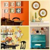 вариант оригинального интерьера квартиры с декоративными тарелками на стену фото