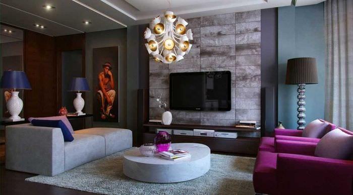 идея современного дизайна спальни с диваном