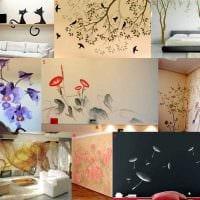 вариант оригинального интерьера комнаты с декоративным рисунком на стене картинка