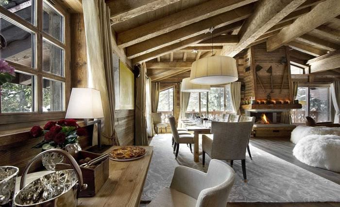 идея красивого интерьера кухни в деревенском стиле