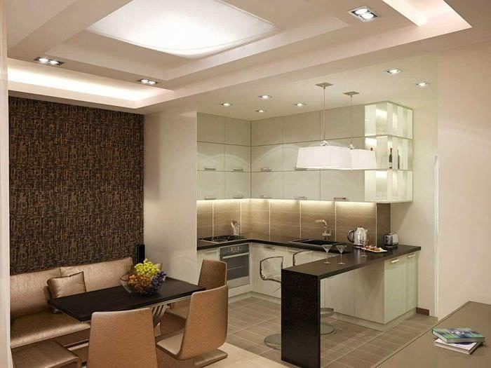 идея красивого дизайна большой кухни