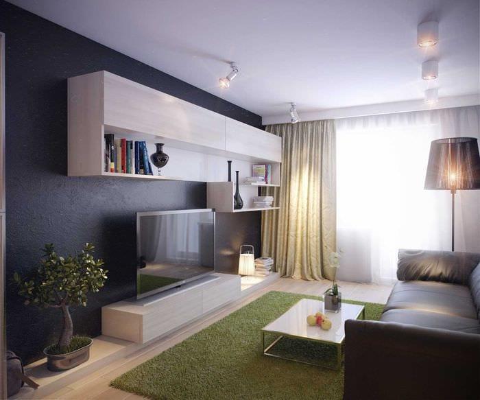 идея современного интерьера гостиной комнаты 17 кв.метров