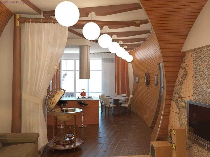 вариант необычного стиля 2 комнатной квартиры