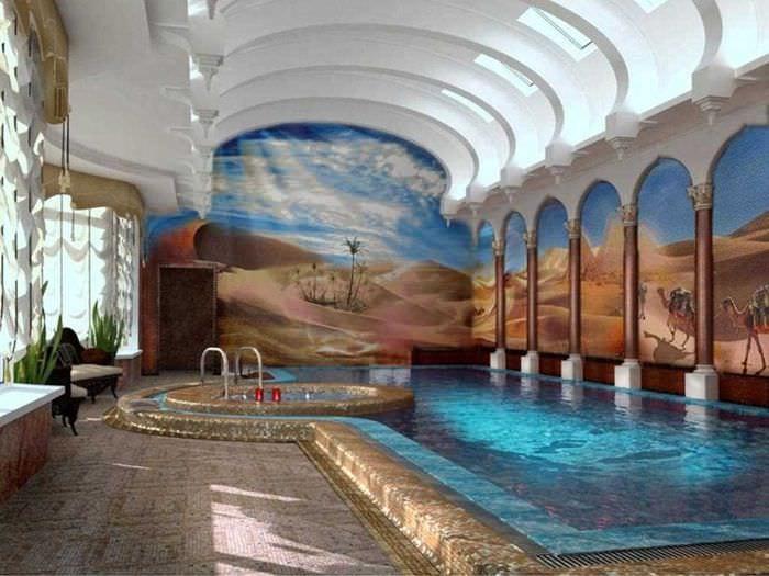 вариант необычного интерьера небольшого бассейна