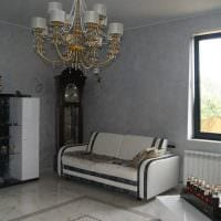 идея красивой декоративной штукатурки в интерьере гостиной под бетон фото