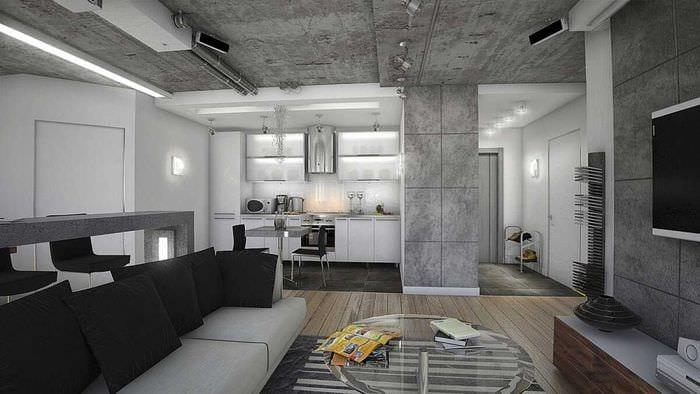 идея яркой декоративной штукатурки в стиле гостиной под бетон