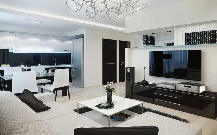 идея современного декора гостиной 3-х комнатной квартиры