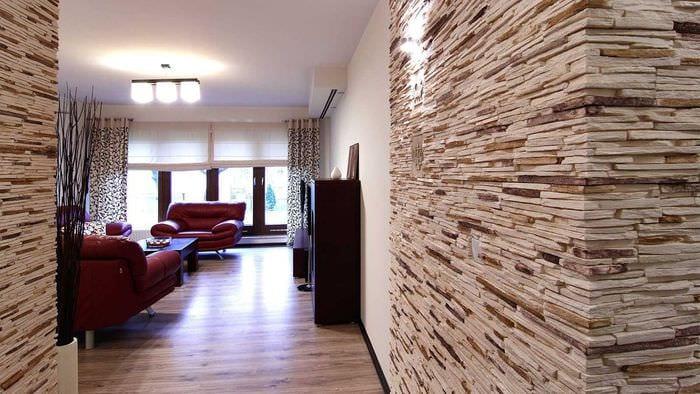 вариант необычного декоративного камня в стиле комнаты