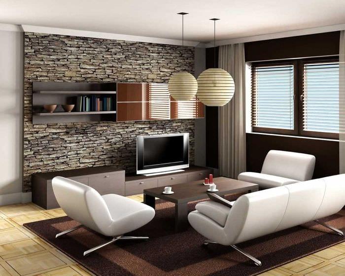 вариант оригинального декоративного камня в интерьере комнаты