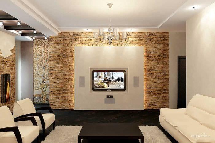 вариант необычного декоративного камня в интерьере комнаты