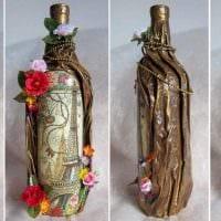 идея стильного декорирования бутылок красками фото