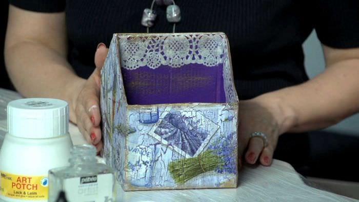 вариант необычного украшения шкатулки