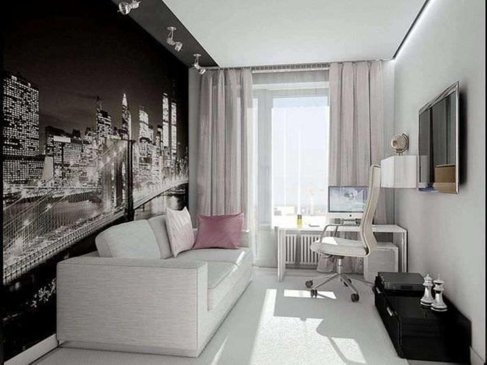 идея яркого интерьера гостиной комнаты 17 кв.метров