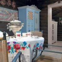 вариант красивого дизайна комнаты в деревенском стиле картинка