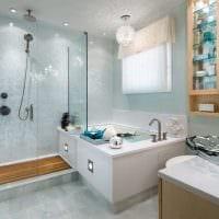 идея яркого интерьера ванной комнаты в квартире картинка