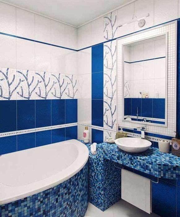 вариант яркого стиля ванной комнаты