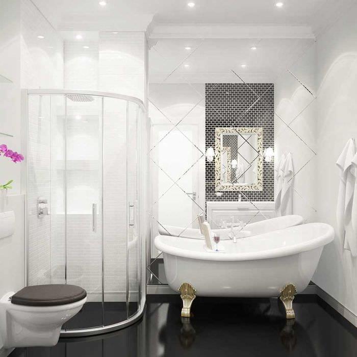 идея оригинального интерьера белой ванной
