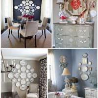 идея современного оформления комнаты с декоративными тарелками на стену картинка