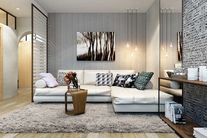 вариант красивого декора гостиной 3-х комнатной квартиры