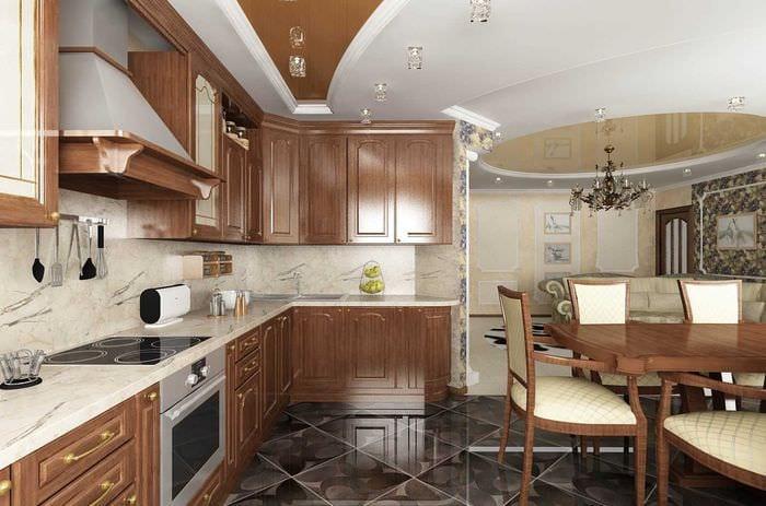 идея яркого дизайна большой кухни