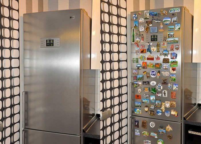 вариант необычного украшения холодильника на кухне