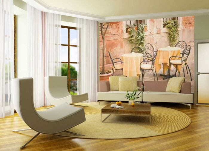 идея яркого декорирования интерьера гостиной