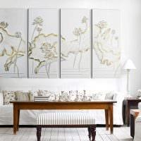 вариант яркого декорирования стен в гостиной картинка