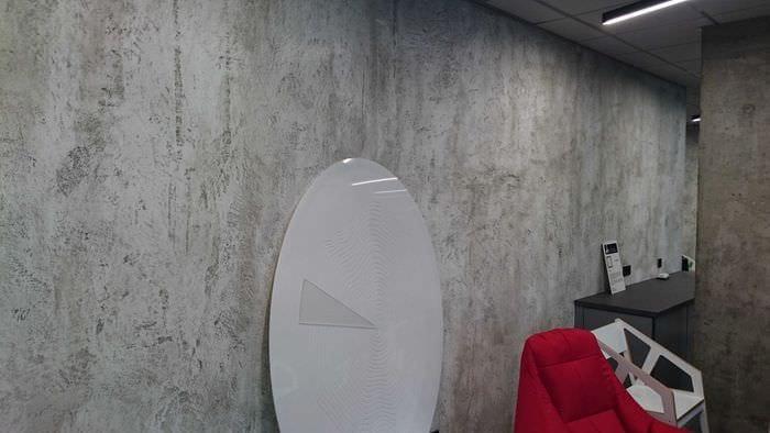 вариант необычной декоративной штукатурки в стиле спальни под бетон