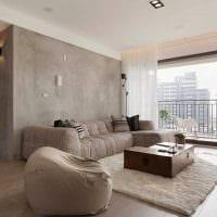 вариант красивой декоративной штукатурки в дизайне спальни под бетон фото