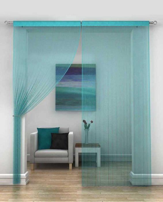 вариант необычных декоративных штор в дизайне квартиры