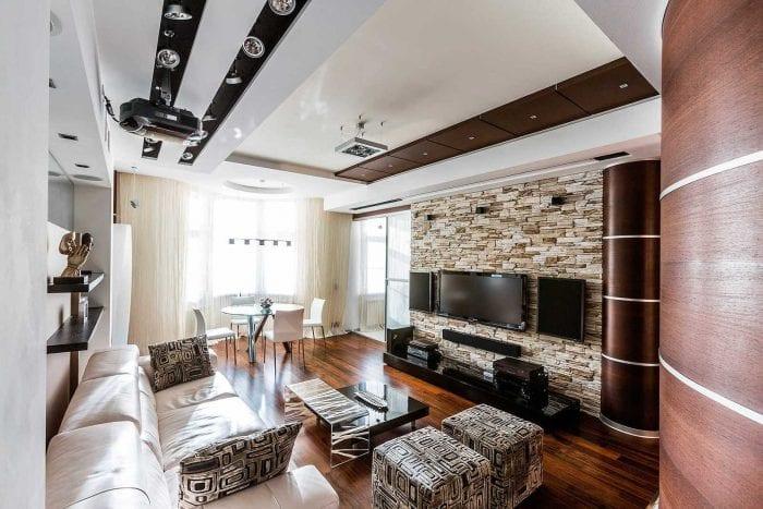 идея оригинального декоративного камня в дизайне квартиры