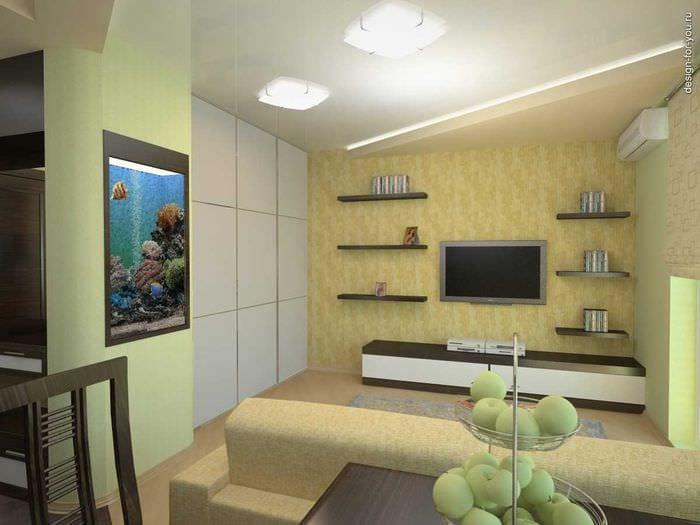Простой дизайн маленькой гостинной