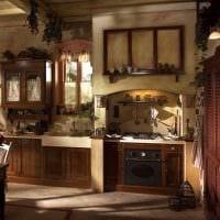 вариант современного интерьера кухни в деревенском стиле картинка