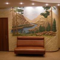 идея оригинального стиля квартиры с декоративной штукатуркой фото