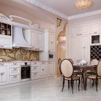 идея яркого стиля большой кухни фото