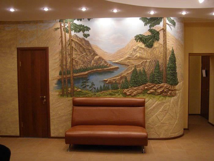 идея необычного стиля квартиры с декоративной штукатуркой