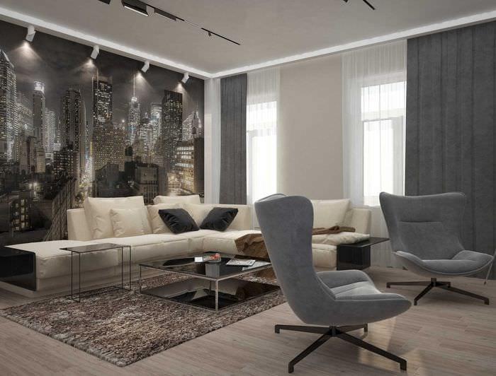 вариант необычного интерьера квартиры 2017 года