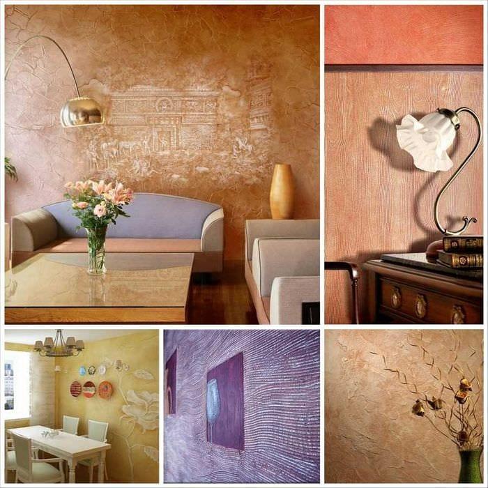 идея оригинального интерьера комнаты с декоративной штукатуркой