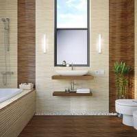 вариант оригинального интерьера ванной комнаты в квартире фото