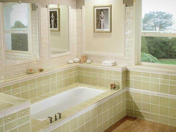идея яркого интерьера ванной комнаты