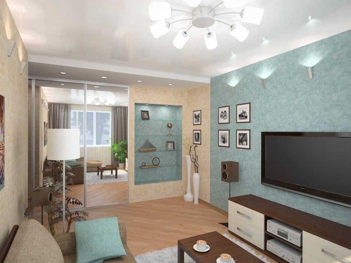 вариант современного дизайна гостиной комнаты 17 кв.метров