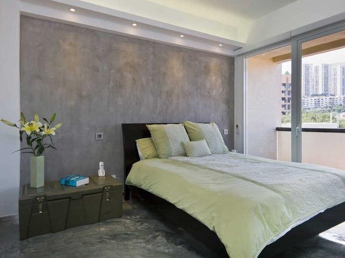 идея красивой декоративной штукатурки в дизайне квартиры под бетон