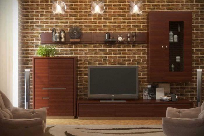 вариант применения красивого декоративного кирпича в интерьере гостиной