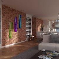 идея применения необычного декоративного кирпича в стиле гостиной фото