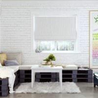 вариант применения оригинального декоративного кирпича в дизайне гостиной картинка