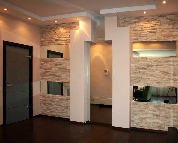 Дизайн коридора с использованием декоративного камня фото