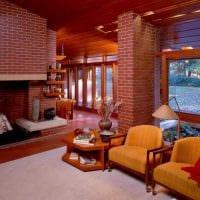 вариант применения оригинального декоративного кирпича в интерьере гостиной фото