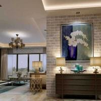 идея применения яркого декоративного кирпича в интерьере спальни картинка